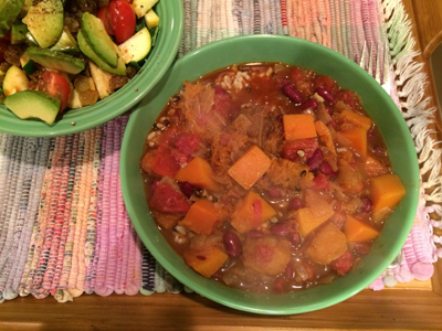 Squash and kidney bean stew
