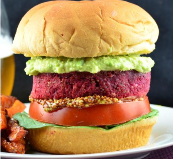 Quinoa, Chickpea & Beet Burger